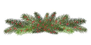 Garland of branches of a Christmas tree and red berries. Isolate. A long garland of fir branches. Christmas decor of natural elements. Drawing. Isolated on a Royalty Free Stock Images