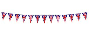 Garland with British pennants on white background stock illustration