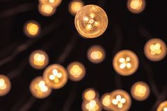 Garland of bulb lamps with modern yellow LED Royalty Free Stock Images