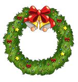 Garland of Christmas. Colored illustration of a garland of Christmas with bells, bows and stars Stock Photos