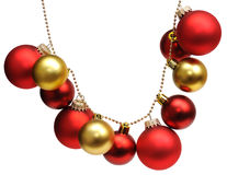 Garland from christmas balls. Isolated on a white background Stock Image