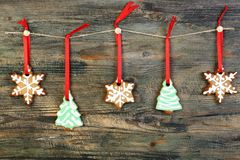 Garland of Christmas cookies. Stock Images