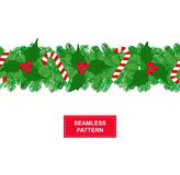 Garland of christmas tree with holly and sweets isolated on white background. seamless pattern Royalty Free Stock Photography