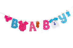 Garland with cloth and letters elements for baby shower Royalty Free Stock Photography