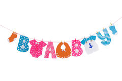 Garland with cloth and letters elements for baby shower Stock Image