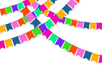 Garland of color Party flags Isolated on White background. Royalty Free Stock Photo
