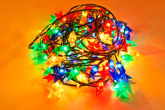 Garland of colored lights for Christmas trees Royalty Free Stock Images