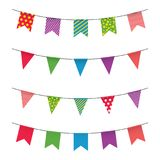 Garland with colorful flags. Carnival or fair flags on white background. Decoration for party, birthday, festival vector illustration