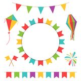 Garland with colorful flags. Carnival or festival flags with lantern, firework and flying kite Stock Photos
