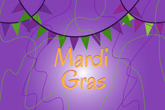 Garland of colour flags and bead. Mardi Gras Stock Image