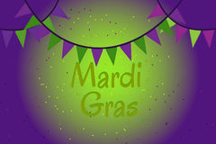 Garland of colour flags and confetti. Mardi Gras. Picture ready for use in Mardi Gras holiday thematic. Garland of colour flags and confetti Royalty Free Stock Image