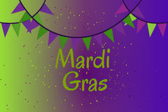 Garland of colour flags and confetti. Mardi Gras Royalty Free Stock Photo