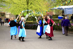 Garland dancers, Derbyshire. Royalty Free Stock Image