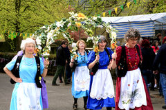 Garland dancers, Derbyshire. Royalty Free Stock Images