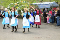 Garland dancers, Derbyshire. Stock Photos