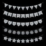 Garland Decoration en el negro, brillo de plata Imagenes de archivo