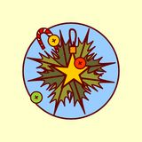 Garland Decoration Icon Merry Christmas y colección dibujada mano de las vacaciones de invierno del concepto de la Feliz Año Nuev Imágenes de archivo libres de regalías