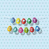 Garland decorative easter eggs in retro style. Flags. Happy Easter. Vector illustration Stock Image
