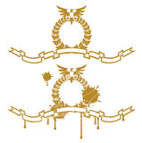 Garland With Eagle. Golden Garland With Eagle And Ribbon Stock Image
