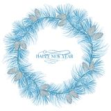 Garland of evergreen fir on white. Garland of evergreen fir with pinecone isolated on white background. Vector illustration Royalty Free Stock Photos