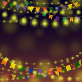 Garland Festival Background. Night Festive background. Different Color Garlands. Vector illustration for greeting and post cards Royalty Free Stock Photography