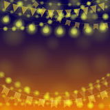 Garland Festival Background. Night Festive background. Gold Festival Garlands. Vector illustration for greeting and post cards Royalty Free Stock Photography