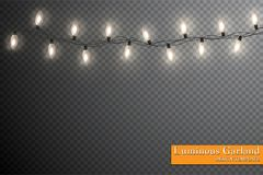 Garland, festive decorations. Glowing christmas lights isolated on transparent background.  Royalty Free Stock Images