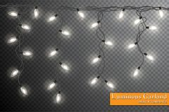 Garland, festive decorations. Glowing christmas lights isolated on transparent background.  Royalty Free Stock Photos