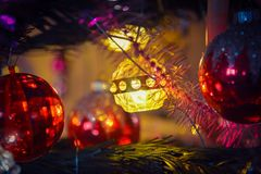 Garland fires on a New Year tree Royalty Free Stock Photography