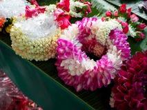 Garland flower for selled at Pak Khlong Talat market Thailand Royalty Free Stock Images