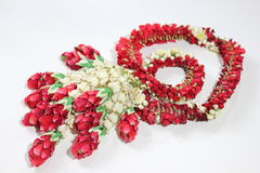 Garland flower in Thai style on a white Royalty Free Stock Photo