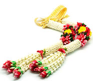 Garland flower. In Thai style on a white background, used offering to buddha Stock Photography