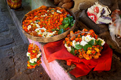 Garland from flowers at street market. Garland from orange and white flowers in the basket at street market near temple in Maharashtra, India Stock Images