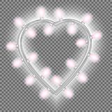 Garland in form of heart with glowing pink lights isolated on transparent background. Vector design element for Holiday cards. Valentine`s day, New Year royalty free illustration