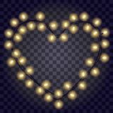 Garland in the form shape of heart with glowing yellow lights isolated on dark violet transparent background. Vector illustration. Festive frame for love cards Royalty Free Stock Photo