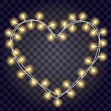 Garland in the form shape of heart with glowing yellow lights isolated on dark violet transparent background. Vector illustration. Festive frame for love cards Stock Photo
