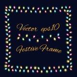 Garland frame. Christmas Lights Garland Frames. Vector illustration template on black background Stock Image