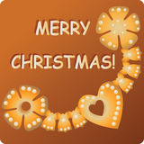 Garland of gingerbread. MERRY CHRISTMAS! Stock Images