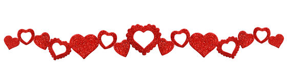 Garland with glitter hearts Stock Image
