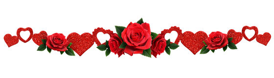 Garland with glitter hearts and red rose flowers Stock Image