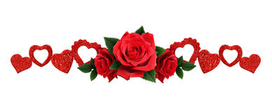 Garland with glitter hearts and red rose flowers Stock Photo