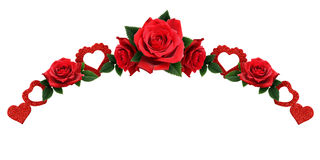Garland with glitter hearts and red rose flowers Royalty Free Stock Photos