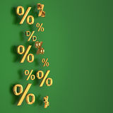 Golden percentages on the green Stock Image