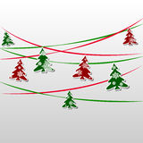 Garland of green and red firs decorated with snowflakes vector illustration