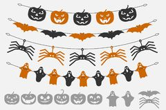 Garland Halloween. The laser cutting. Festive decoration for walls and Windows. Vector illustration Stock Photos