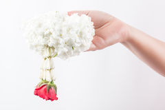 Garland on hand. White garland on women hand is the meaning of welcome in Thailand Stock Photo