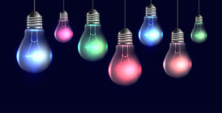 Garland of hanging realistic light bulbs with light. Stock Photography