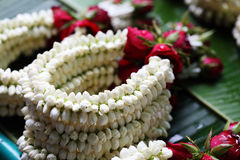 The garland have jasmine and rose at street market. Thailand Royalty Free Stock Photo