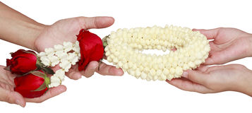 Garland isolated on hand. In mother day Royalty Free Stock Photography