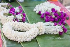 The garland of jasmine and globe amaranth flower Stock Images